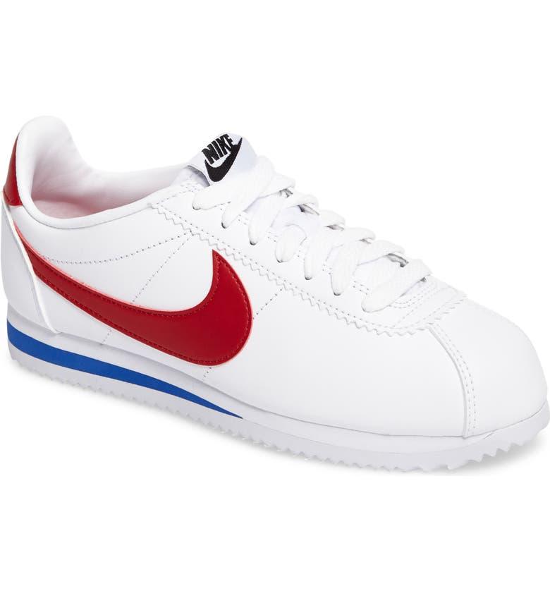 NIKE Classic Cortez Sneaker, Main, color, WHITE/ VARSITY RED