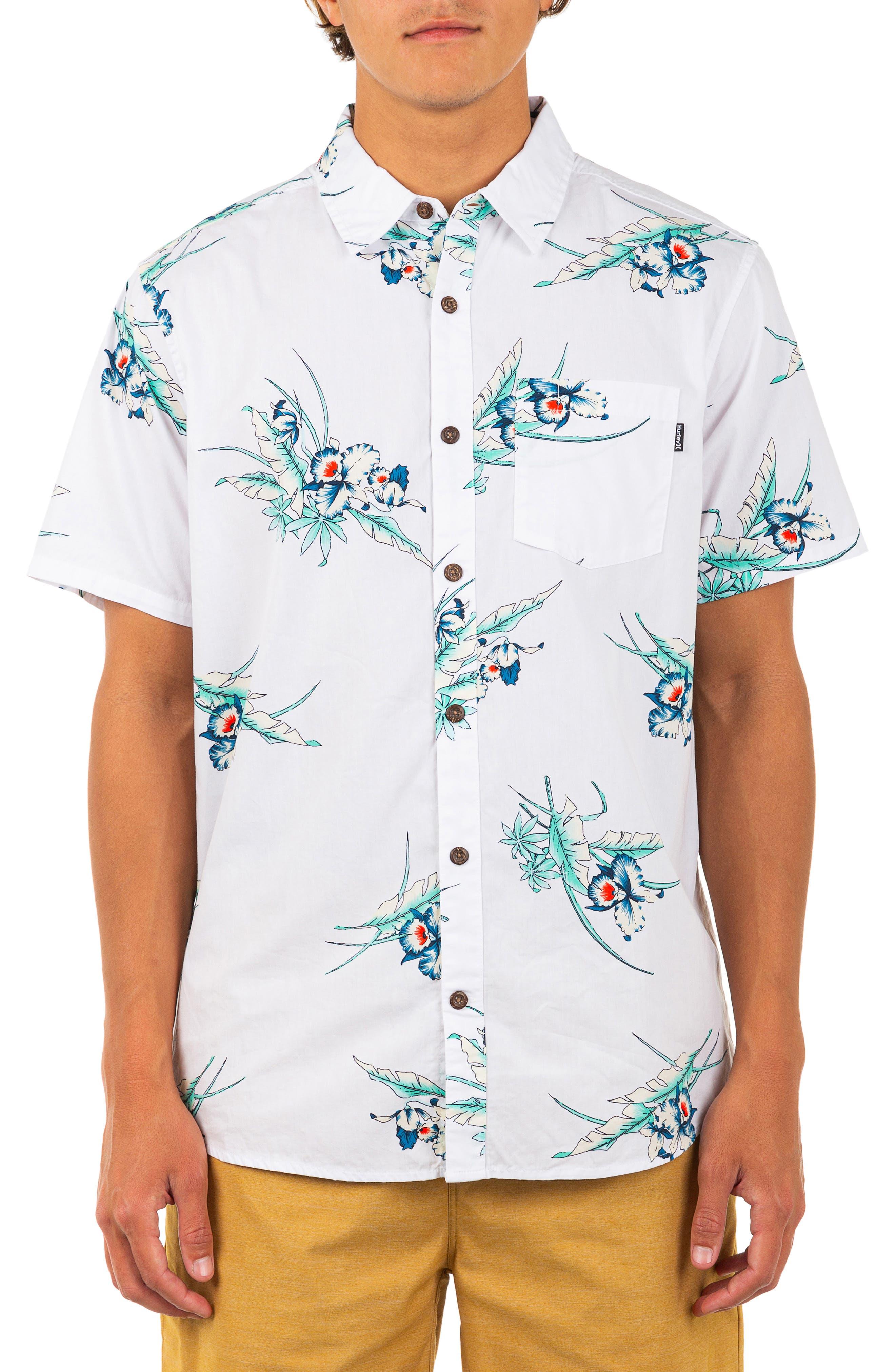Del Mar Regular Fit Tropical Print Organic Cotton Short Sleeve Button-Up Shirt
