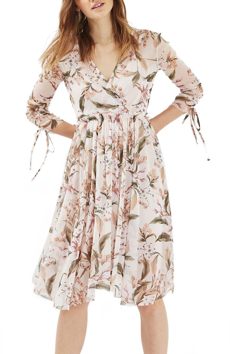 TOPSHOP Lily Floral Mesh Dress, Main, color, 900