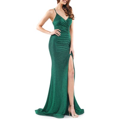 Colors Dress Glitter Ruched Jersey Gown, Green
