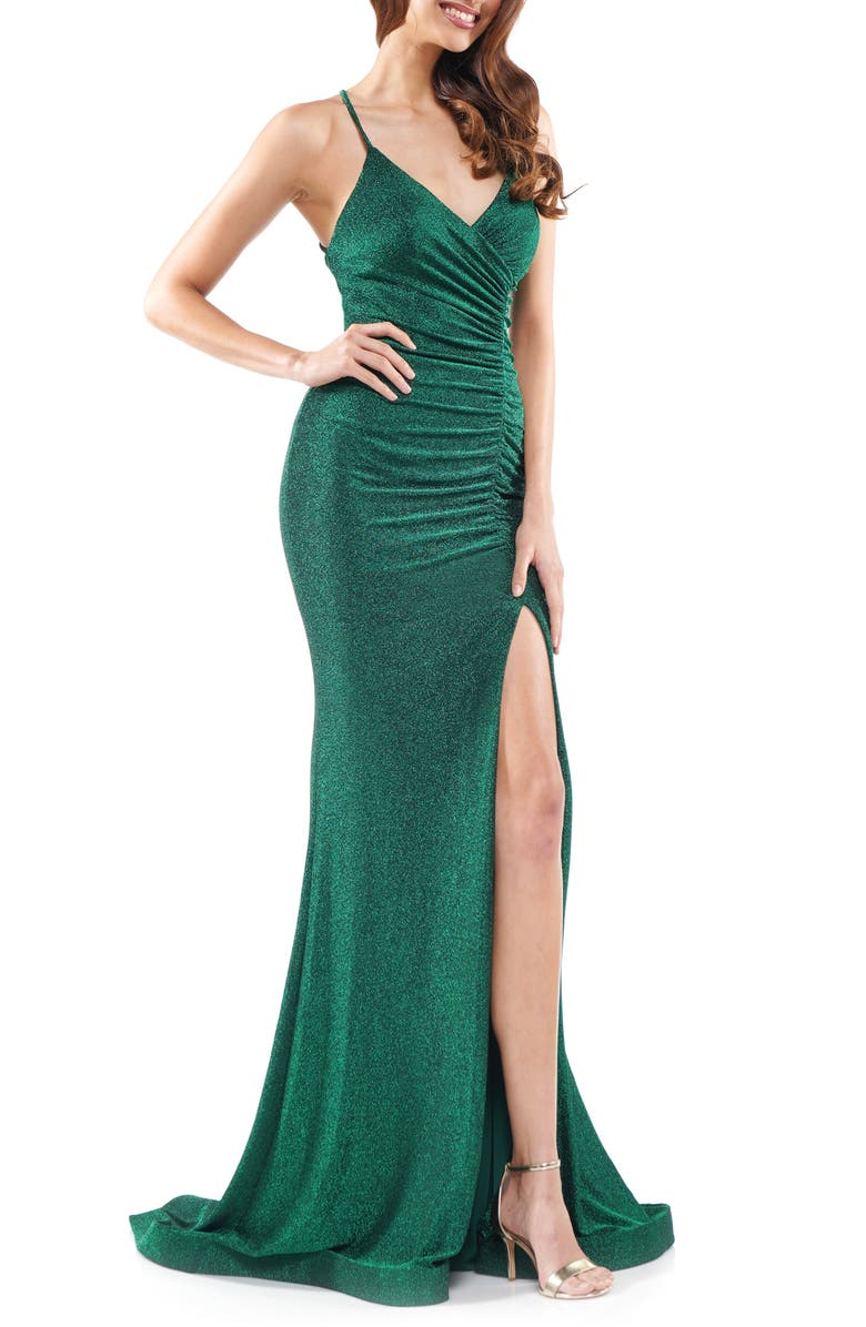 COLORS DRESS Glitter Ruched Jersey Gown, Main, color, DEEP GREEN