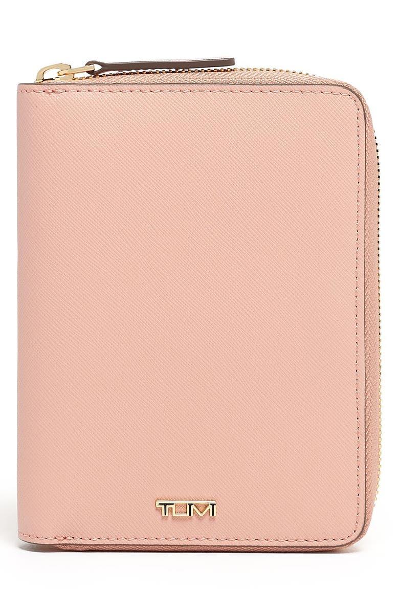 TUMI Belden Leather Zip Around Passport Case, Main, color, BLUSH