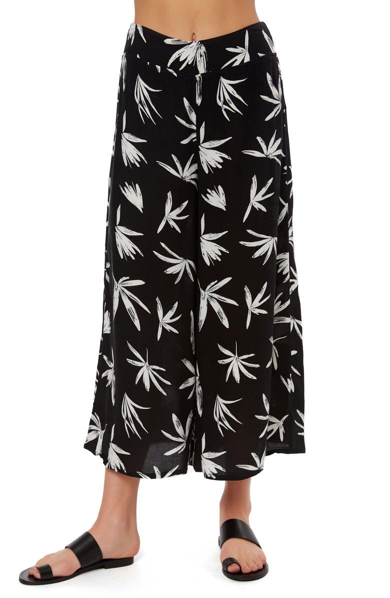 O'NEILL Coco Floral Print Wide Leg Crop Pants, Main, color, 001