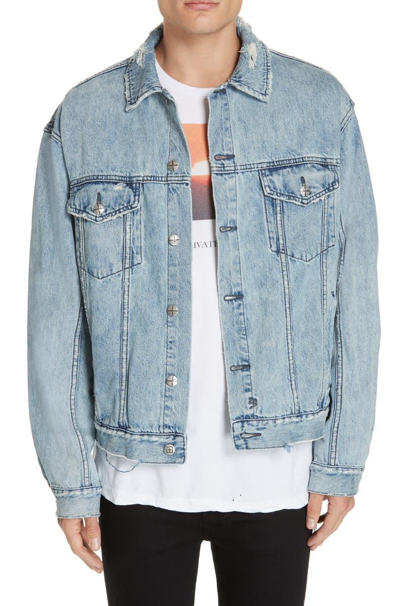 KSUBI Oh G Oversize Denim Jacket, Main, color, BLUE