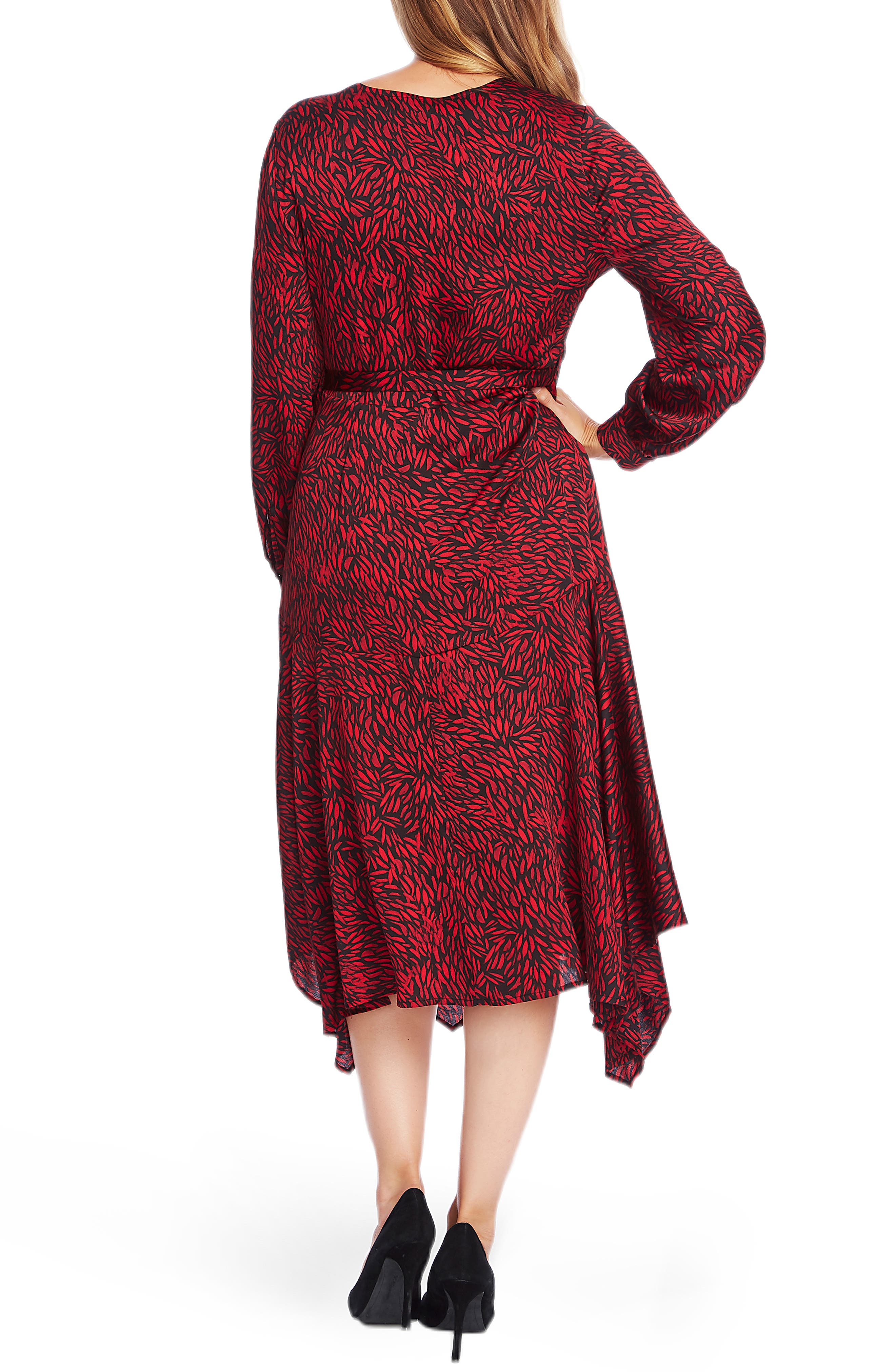 Vince Camuto Dresses Drifting Petals Long Sleeve Faux Wrap Dress