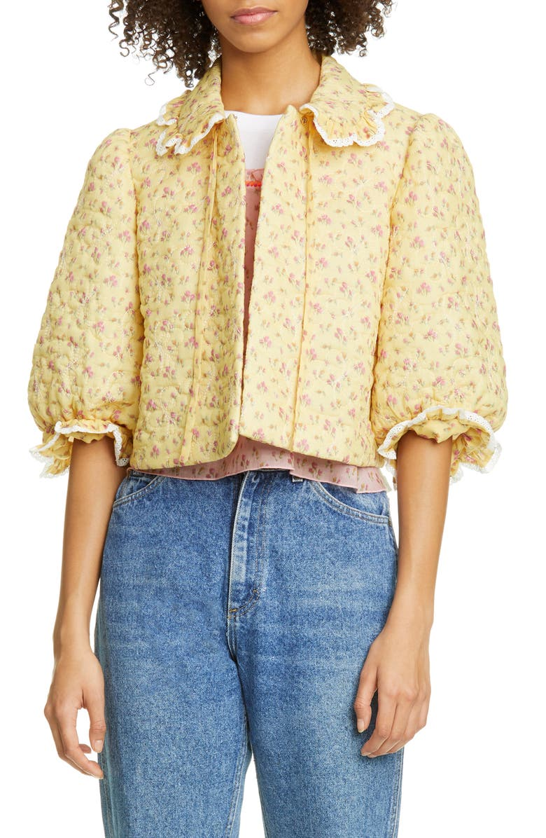 ANNA SUI Butterfly Quilted Rosebuds Print Crop Jacket, Main, color, 700