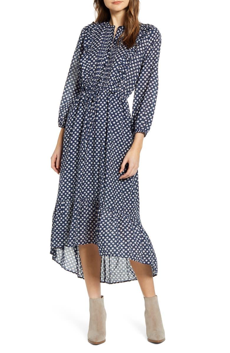 LUCKY BRAND Dawn Floral Long Sleeve Dress, Main, color, NAVY MULTI