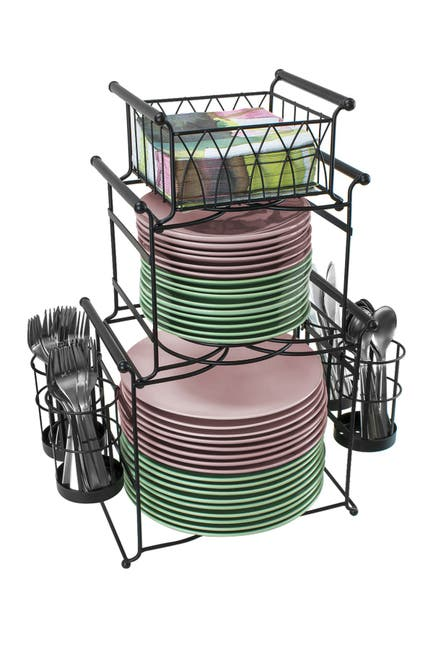 Image of Sorbus Black Stackable Buffet 7-Piece Caddy