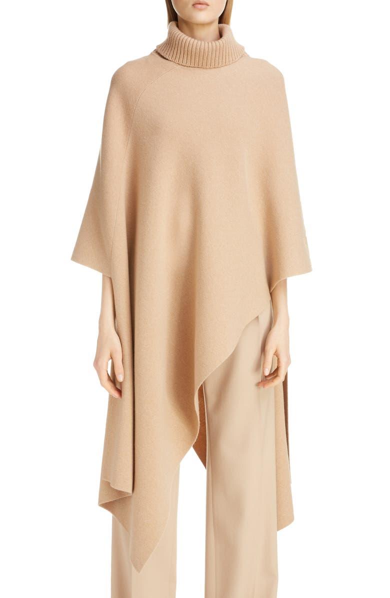 CHLOÉ Asymmetrical Cashmere Tunic Sweater, Main, color, LIGHT CAMEL