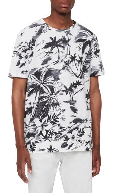 Allsaints Seabreeze Slim Fit Print T-shirt In Optic White/ Grey