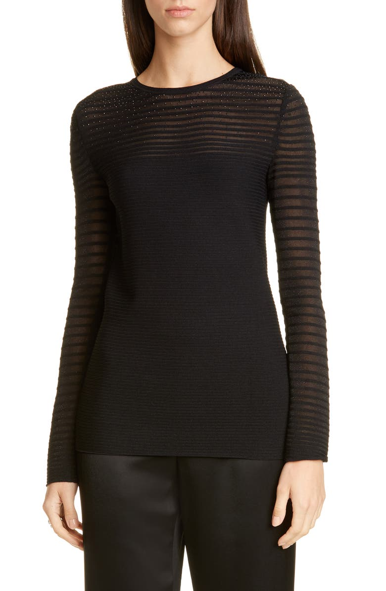 ST. JOHN EVENING Shimmer Degradé Ottoman Knit Top, Main, color, CAVIAR