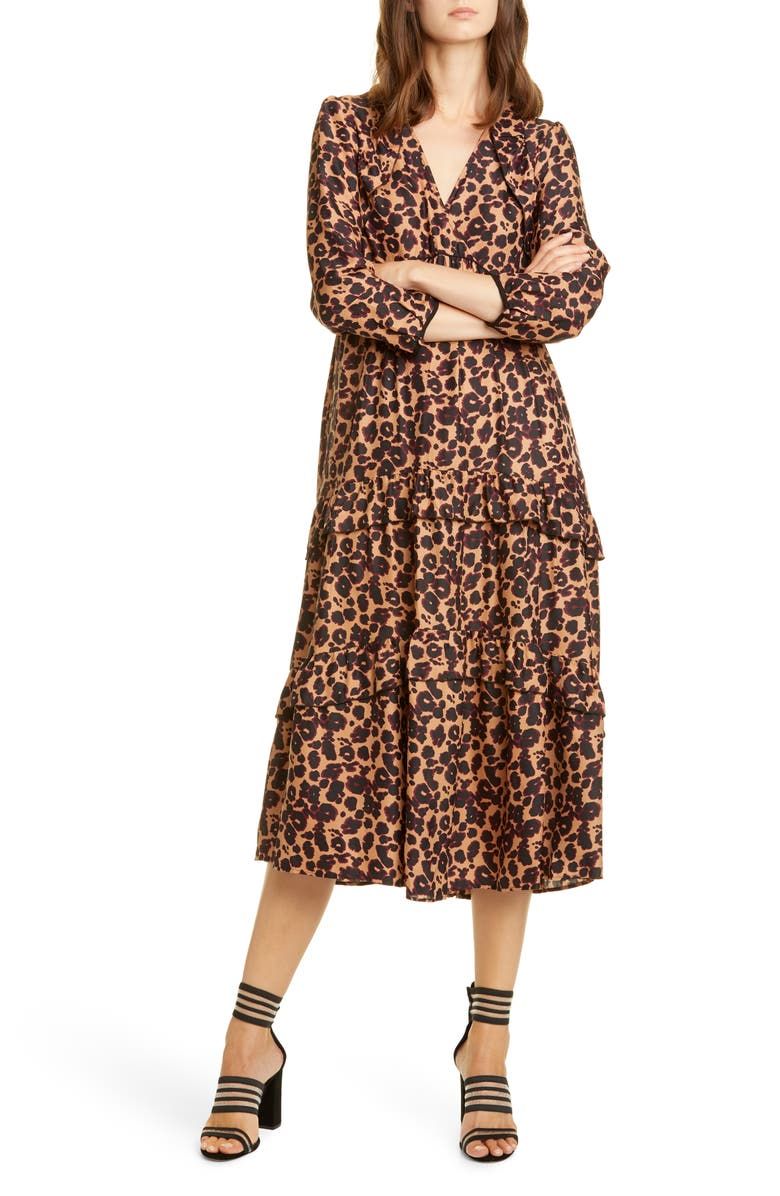 BA&SH Tracy Leopard Print Midi Dress, Main, color, 200