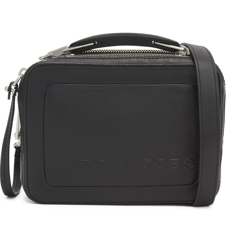 MARC JACOBS The Box 20 Leather Crossbody Bag, Main, color, JET BLACK