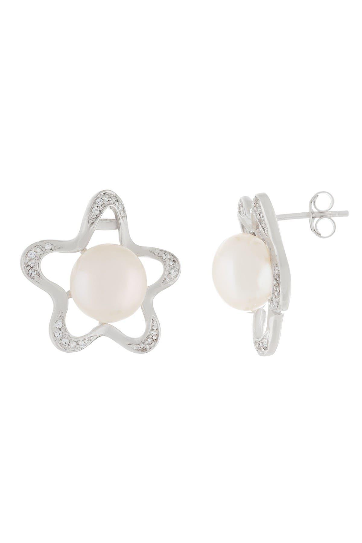 Image of Splendid Pearls Pave CZ & 7-7.5mm Cultured Freshwater Pearl Star Stud Earrings