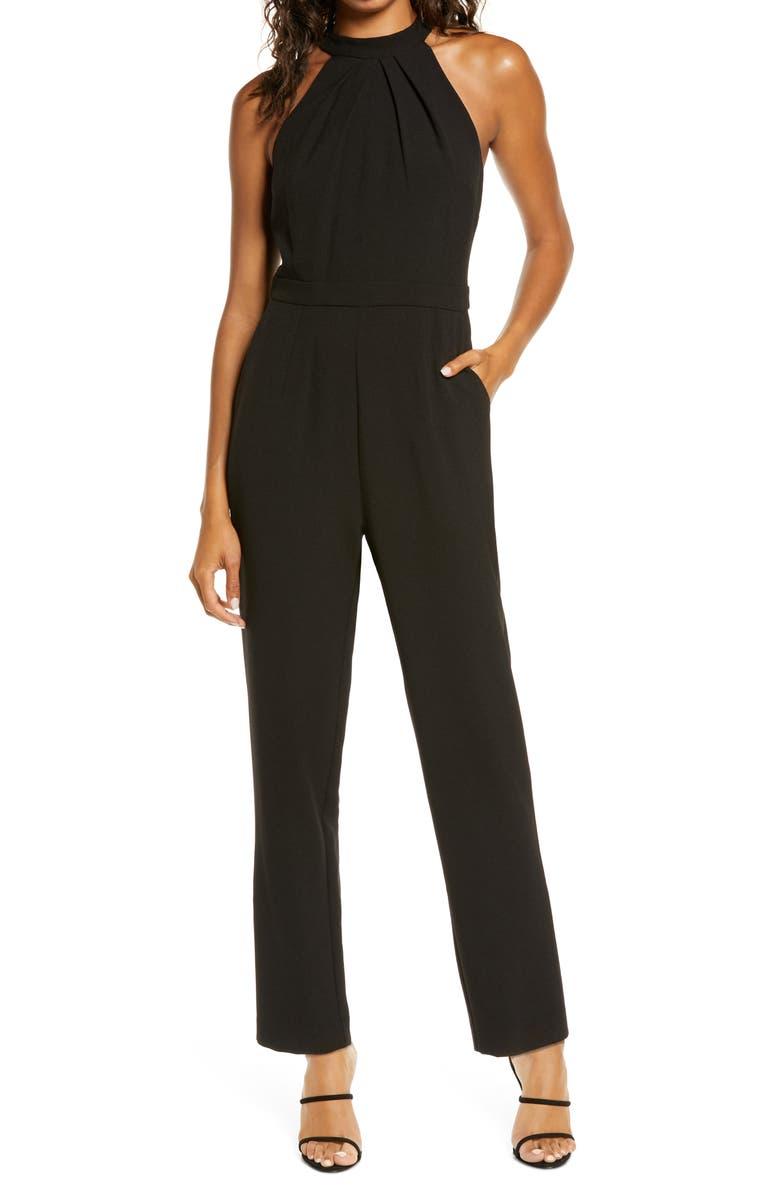 JULIA JORDAN Pleat Mock Neck Jumpsuit, Main, color, BLACK