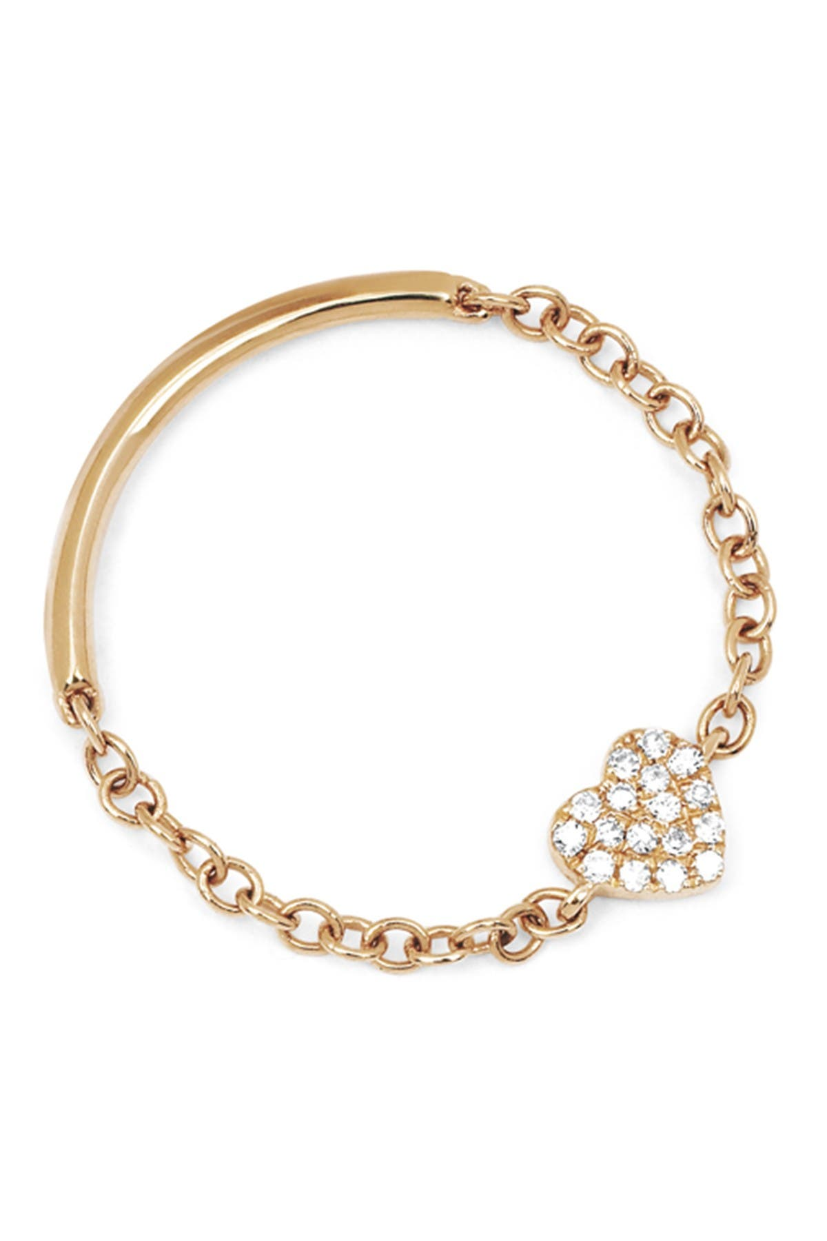 Image of EF Collection 14K Rose Gold Diamond Mini Heart Chain Ring - 0.05 ctw