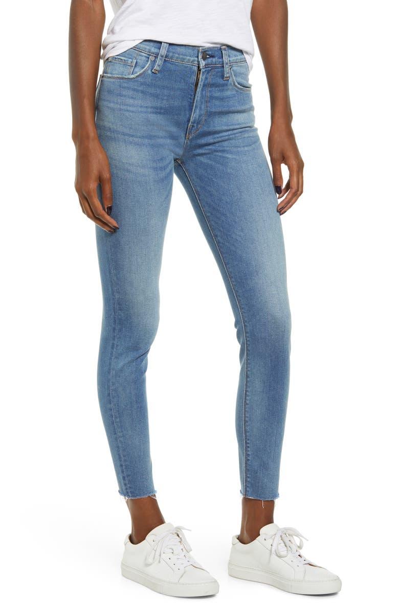 HUDSON JEANS Barbara High Waist Raw Hem Ankle Super Skinny Jeans, Main, color, LOVESICK