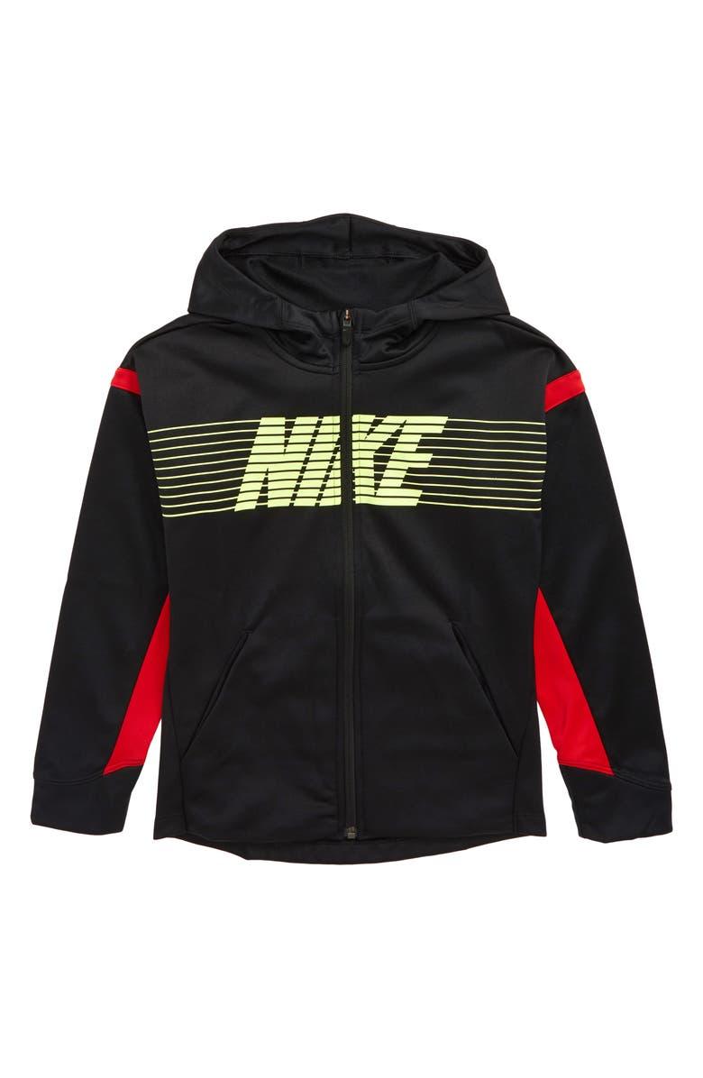NIKE Therma-FIT Full Zip Hoodie, Main, color, BLACK/ UNIVERSITY RED