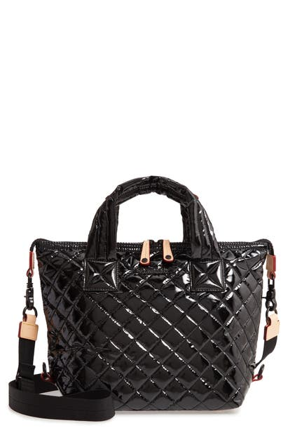 Mz Wallace 'small Sutton' Quilted Oxford Nylon Crossbody Bag In Black Lacquer Quilted