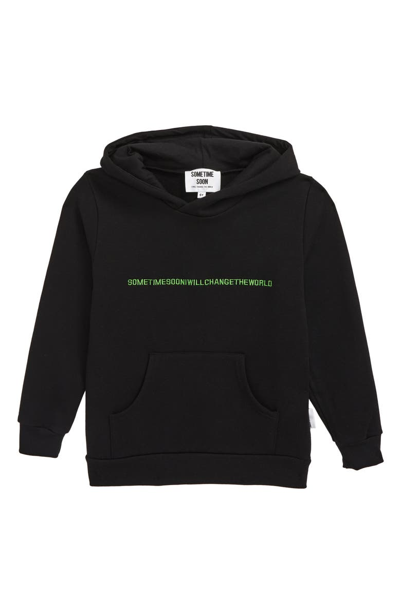 SOMETIME SOON Follow Embroidered Hoodie, Main, color, BLACK