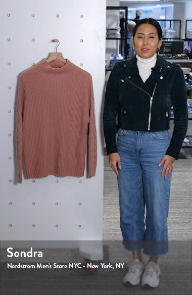 Mix Stitch Funnel Neck Cashmere & Silk Sweater, sales video thumbnail