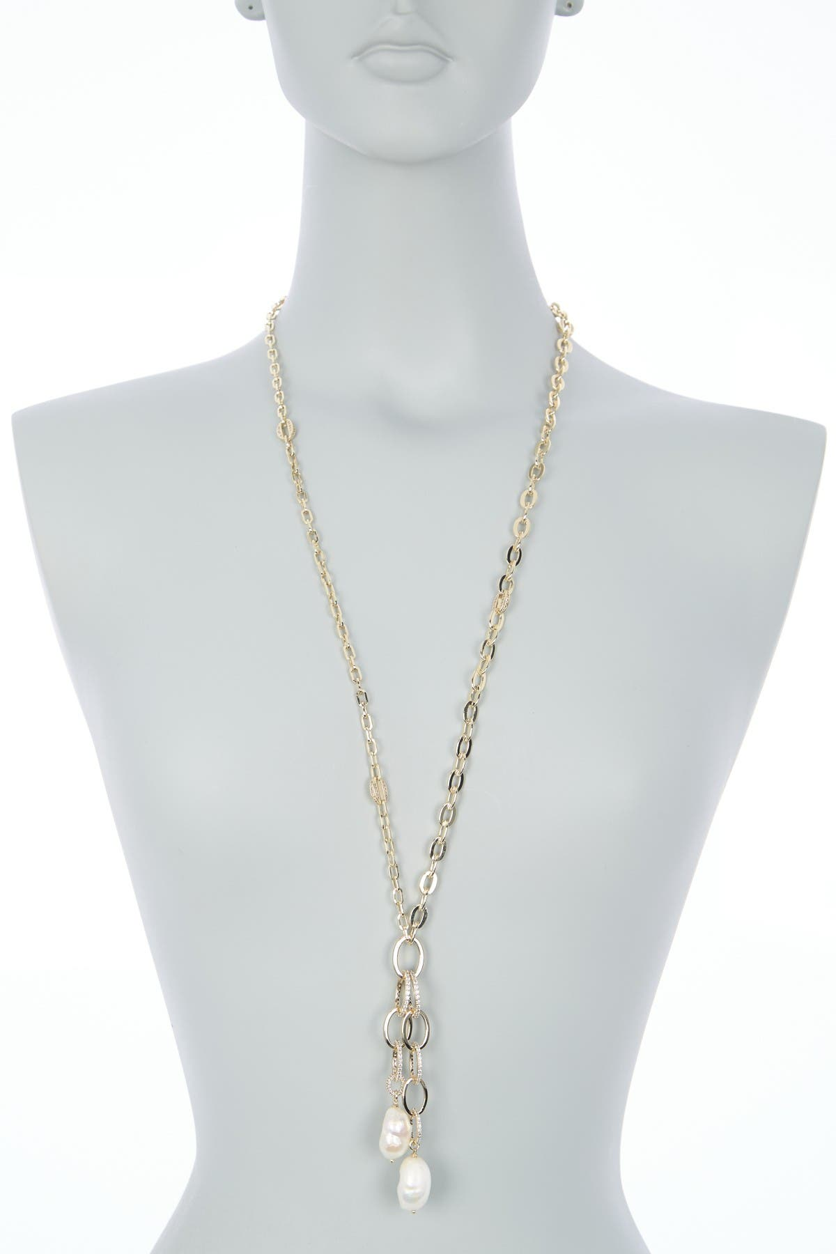 Carolee Diana Gold-Tone Plated Sterling Silver Freshwater Pearl Link Long Necklace