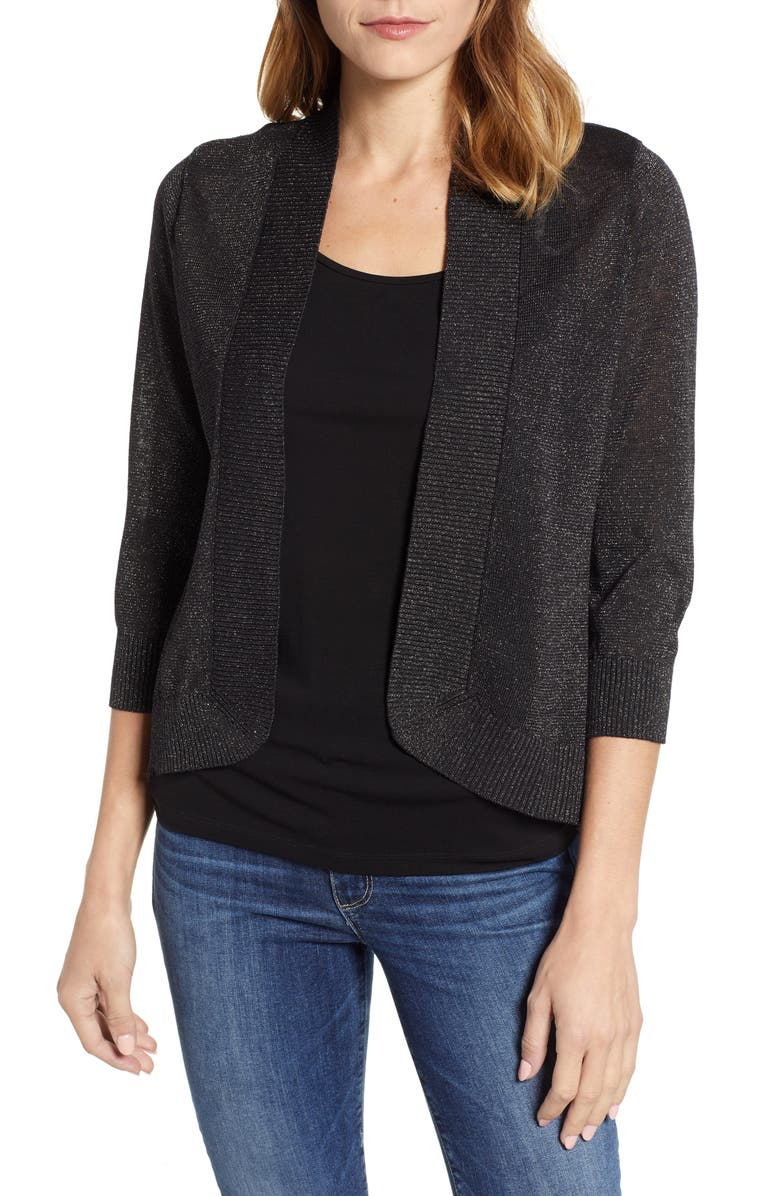 TOMMY BAHAMA Lea Shimmer Open Front Cardigan, Main, color, PEWTER