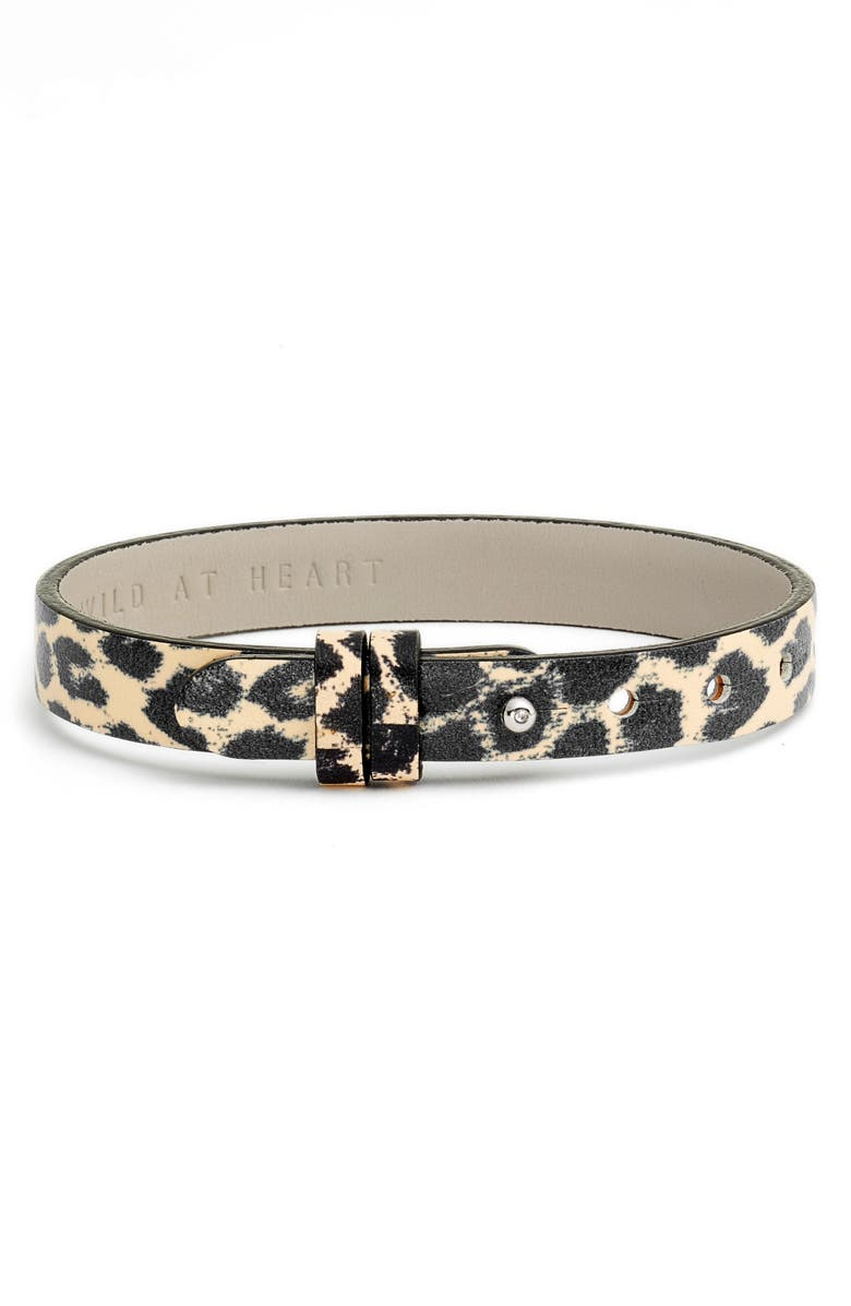 KEEP COLLECTIVE Leopard Print/Wild at Heart Reversible Leather Band Charm Bracelet, Main, color, LEOPARD