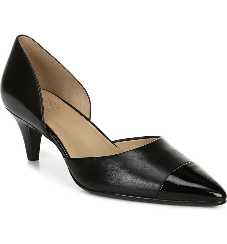 NATURALIZER Barb Leather Pump, Main, color, BLACK LEATHER