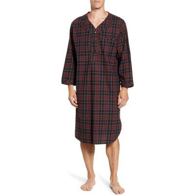 Majestic International Plaid Cotton Flannel Nightshirt, Black