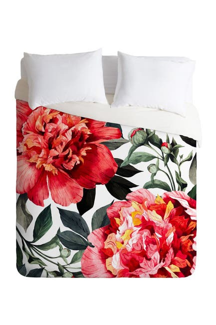 Image of Deny Designs Marta Barragan Camarasa Red Flowers Twin Duvet Cover