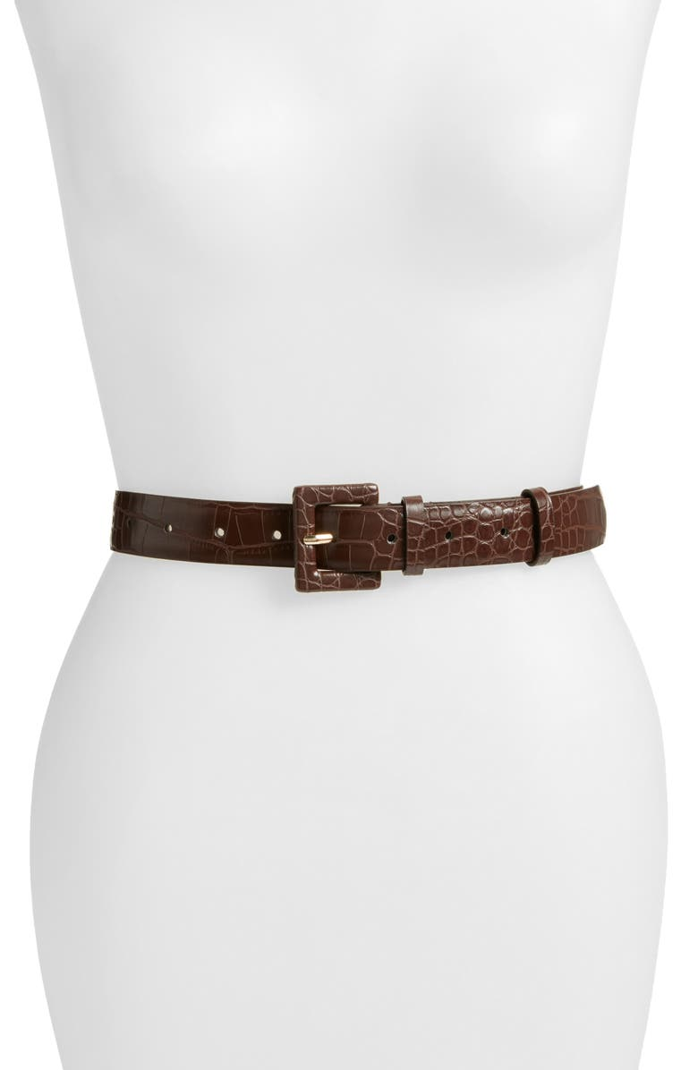 SOMETHING NAVY Croc Embossed Faux Leather Belt, Main, color, BROWN GANACHE