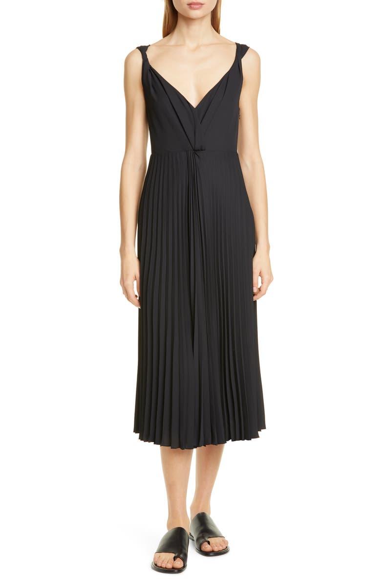 VINCE Twist Front Pleated Midi Dress, Main, color, BLACK