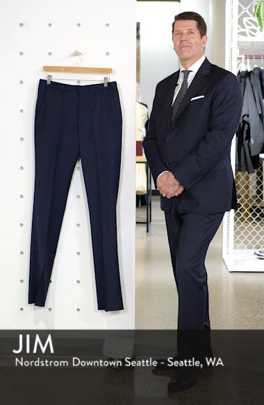 Jetsetter Slim Fit Flat Front Stretch Wool Trousers, sales video thumbnail