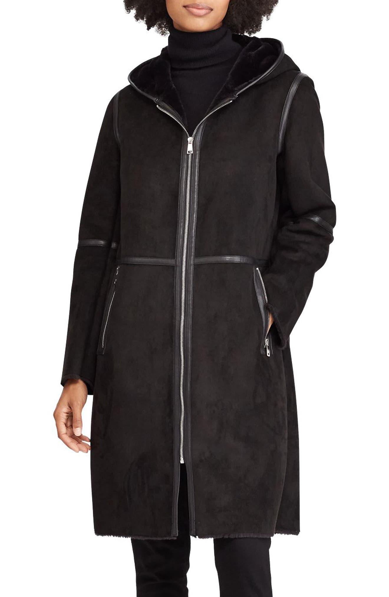 ,                             Faux Shearling Duffle Coat,                             Main thumbnail 1, color,                             001