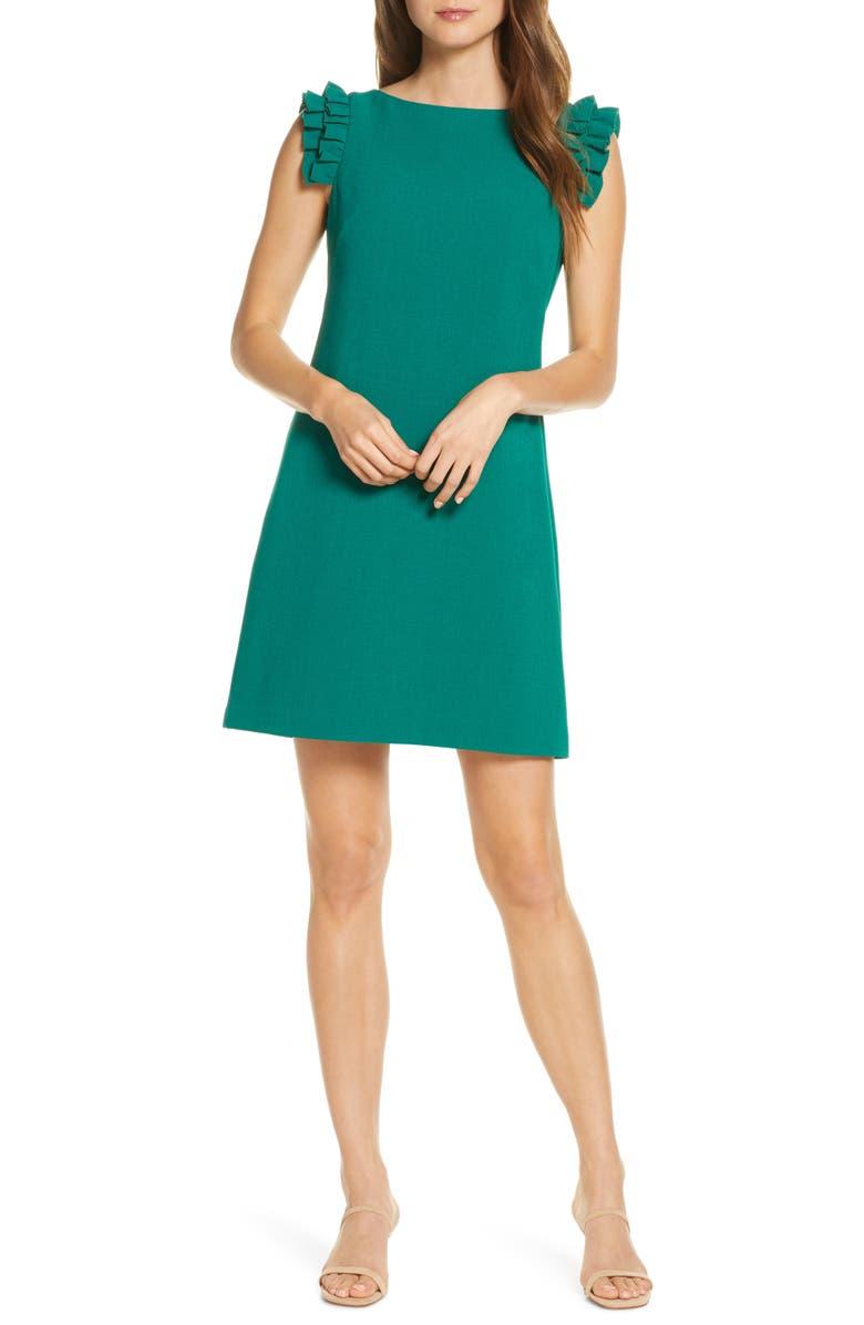 VINCE CAMUTO Ruffle Shoulder Crepe Shift Dress, Main, color, 311
