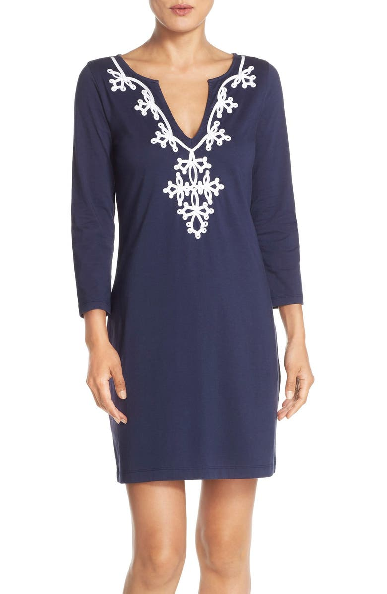 d8d4ca498db3de Lilly Pulitzer® 'Marina' Embroidered Cotton Shift Dress | Nordstrom