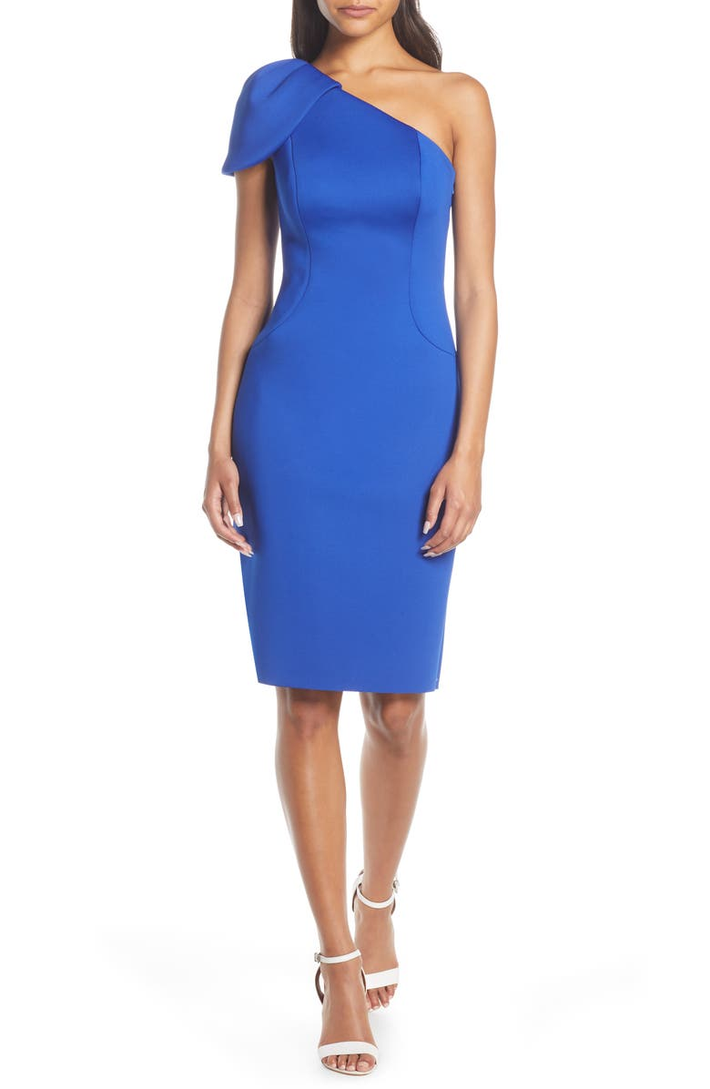 ELIZA J One-Shoulder Body-Con Scuba Crepe Dress, Main, color, COBALT