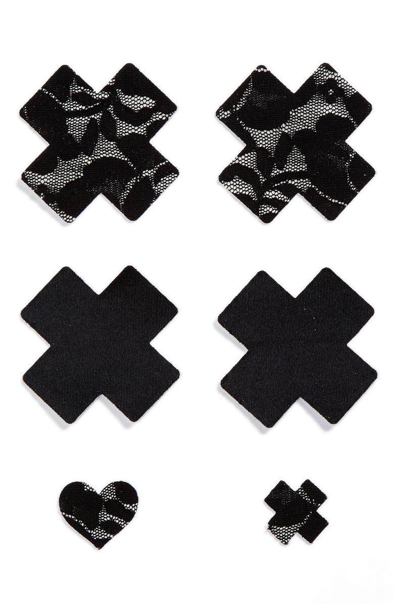 BRISTOLS 6 Nippies by Bristols Six Cross Nipple Covers, Main, color, BLACK
