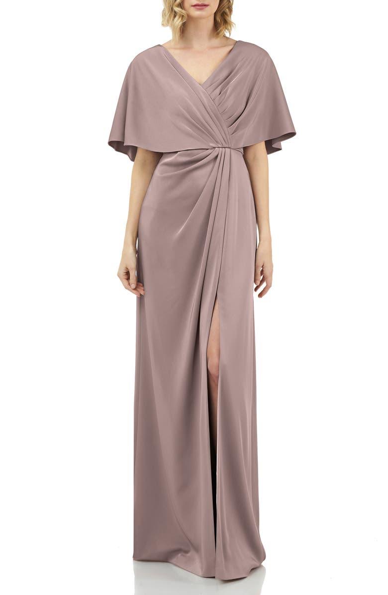 KAY UNGER Luna Drape Neck Gown, Main, color, MINK
