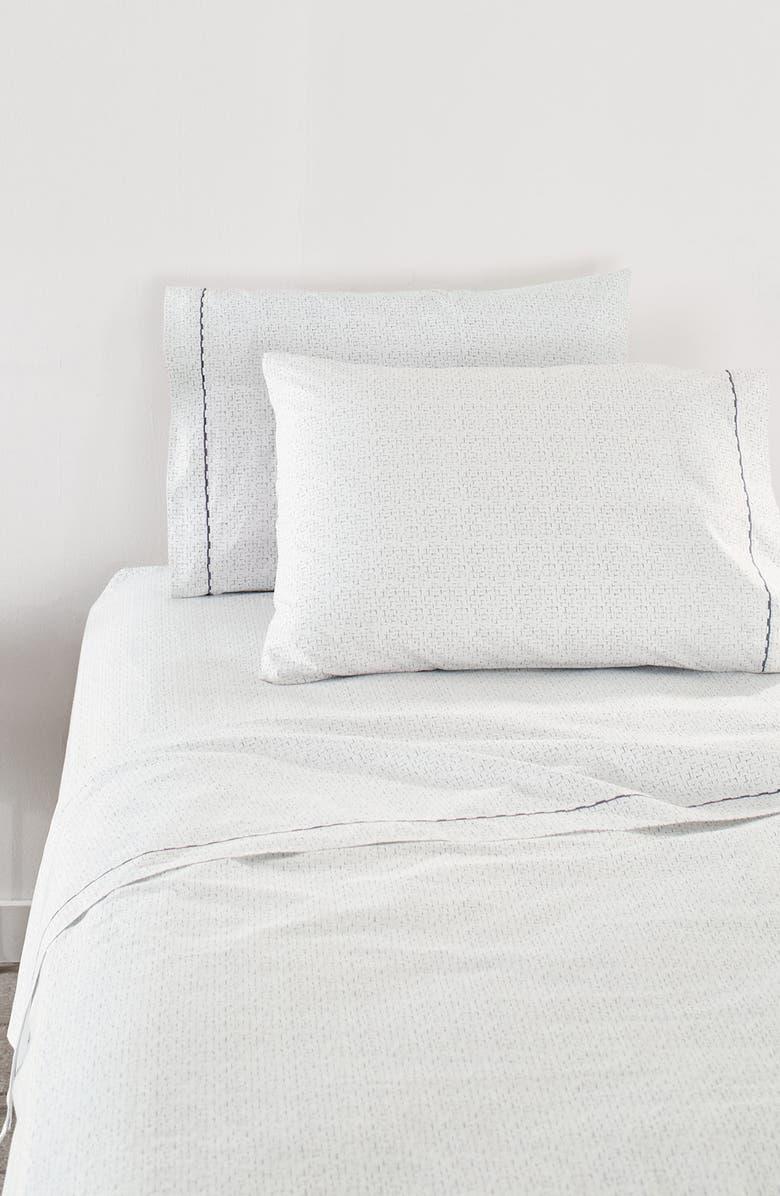 SPLENDID HOME DECOR Lattice 400 Thread Count Sheet Set, Main, color, WHITE/ SILVER BLUE