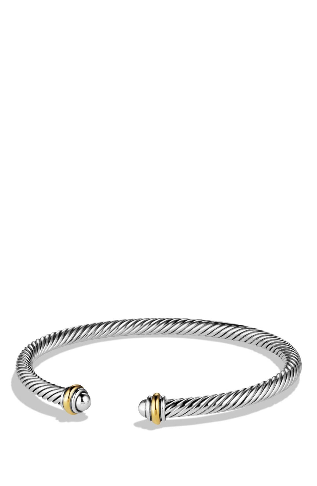 ,                             Cable Classics Bracelet with 18K Gold, 4mm,                             Main thumbnail 1, color,                             TWO TONE