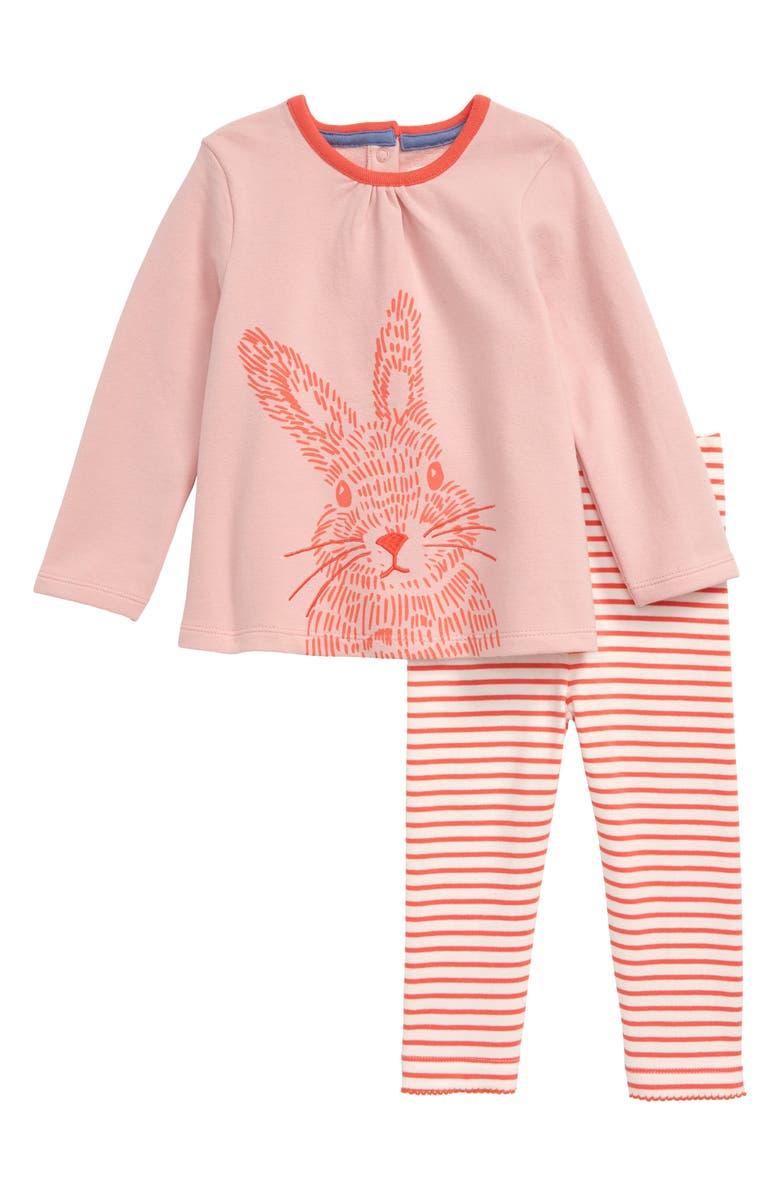 MINI BODEN Jersey Top & Leggings Set, Main, color, PINK BUNNY