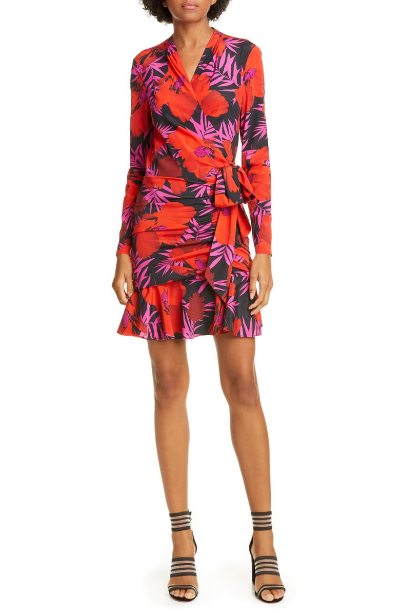 VERONICA BEARD Lorina Floral Long Sleeve Silk Stretch Minidress, Main, color, POPPY MULTI