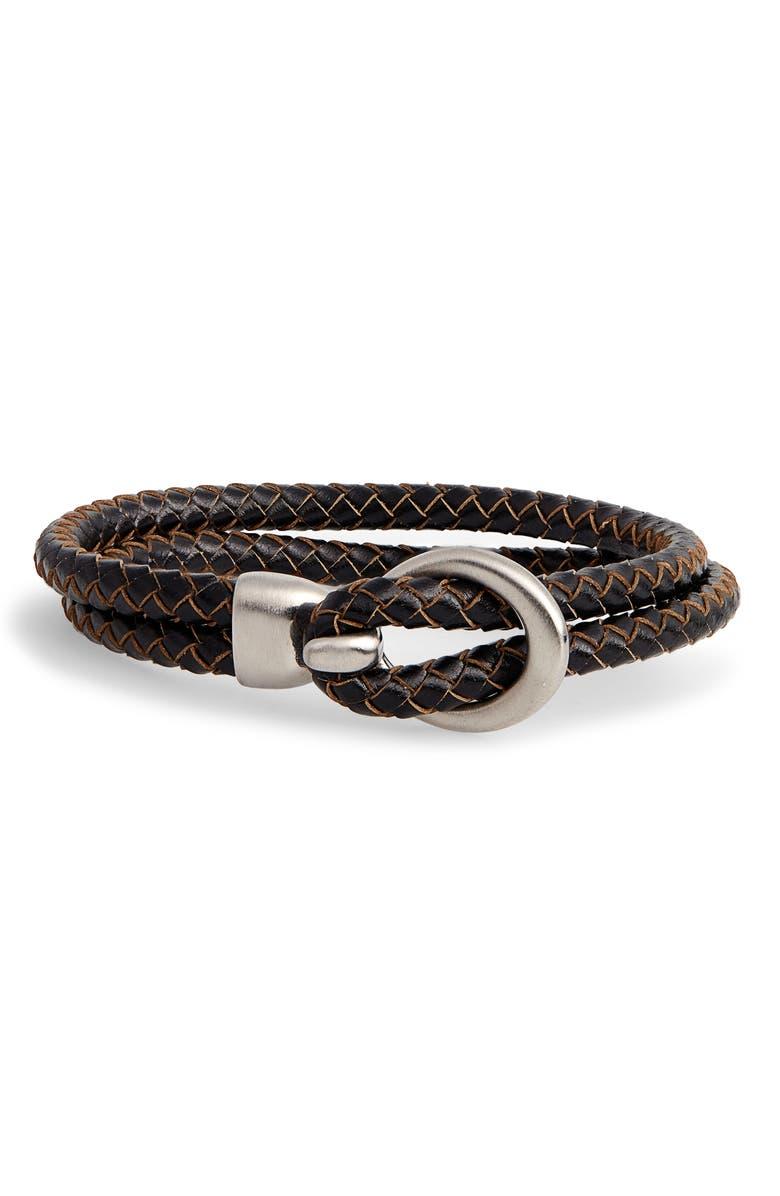 NORDSTROM MEN'S SHOP Braided Faux Leather Bracelet, Main, color, 201