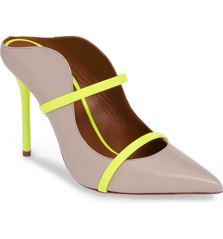 MALONE SOULIERS Maureen Double Band Mule, Main, color, ICE/ NEON YELLOW