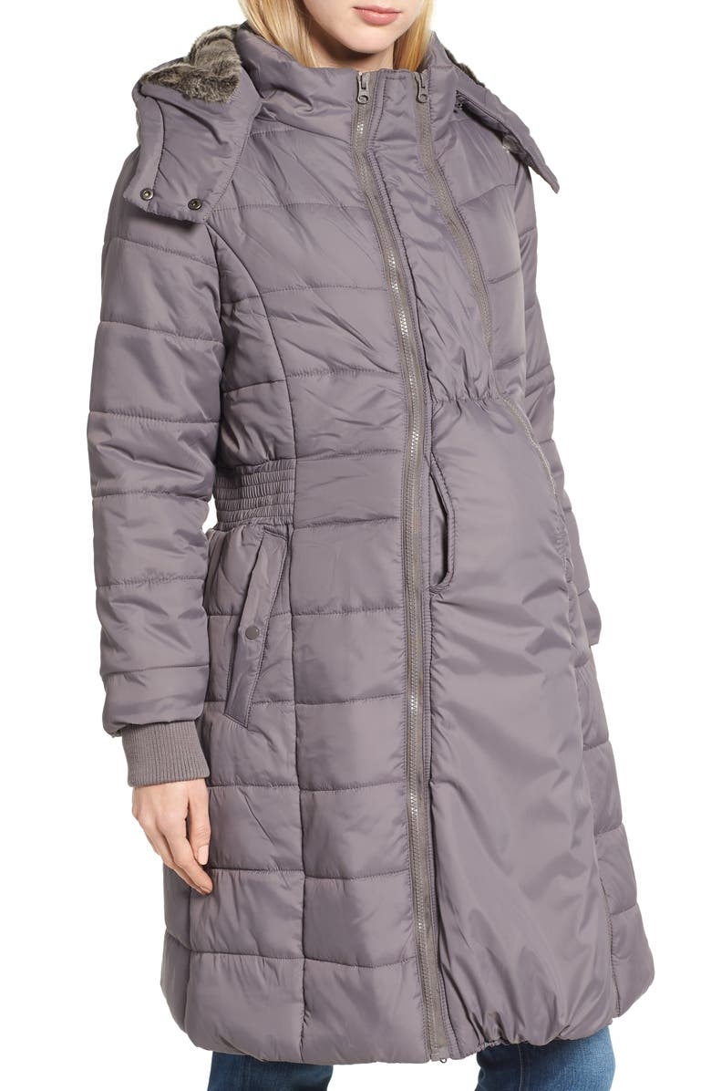 MODERN ETERNITY Madison Quilted 3-in-1 Maternity Puffer Coat with Faux Fur Trim, Main, color, GREY