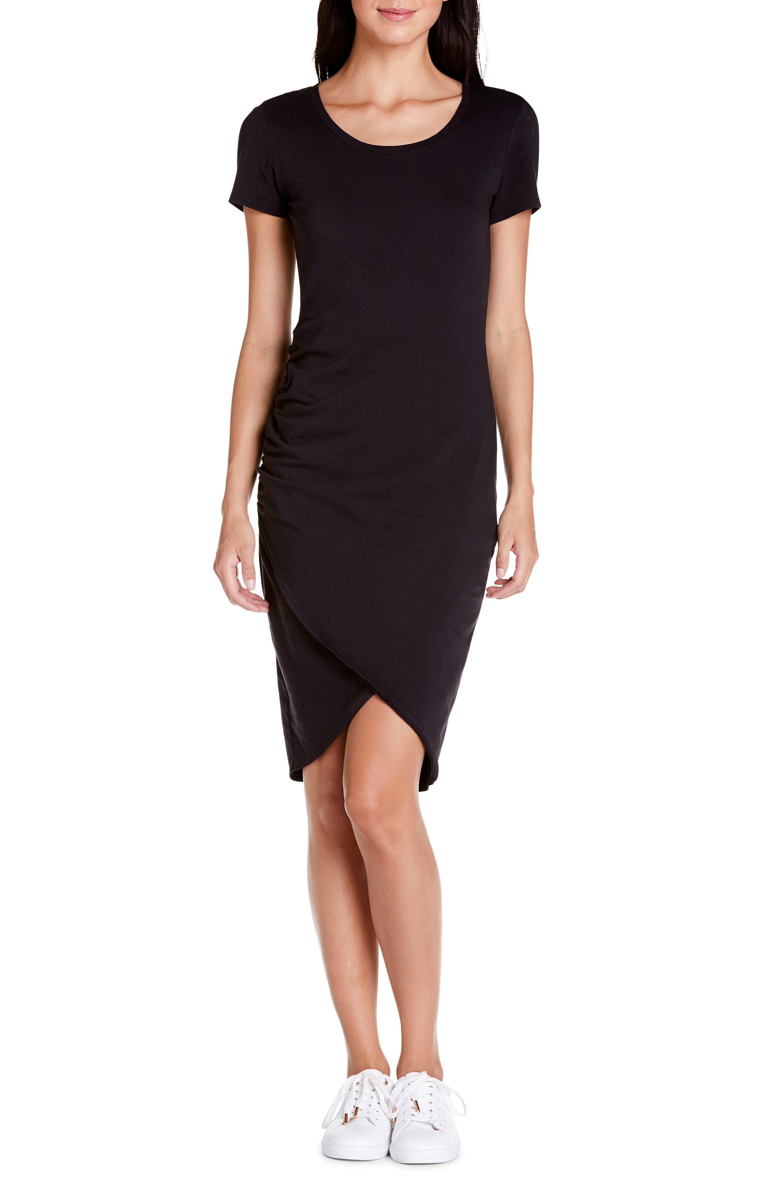 Michael Stars Kimber Tulip Skirt Knit Dress, Black