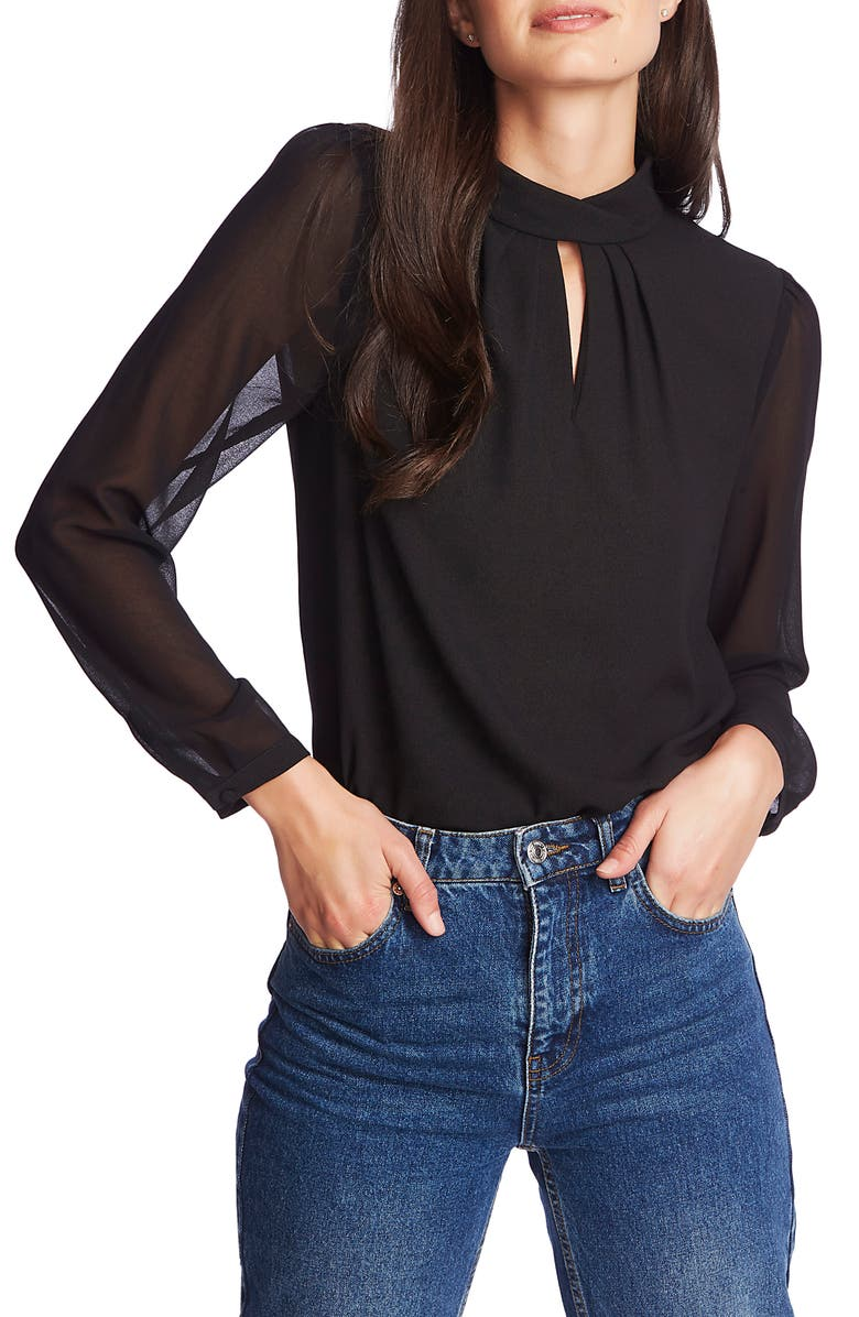 1.STATE Keyhole Neck Sheer Sleeve Blouse, Main, color, 006