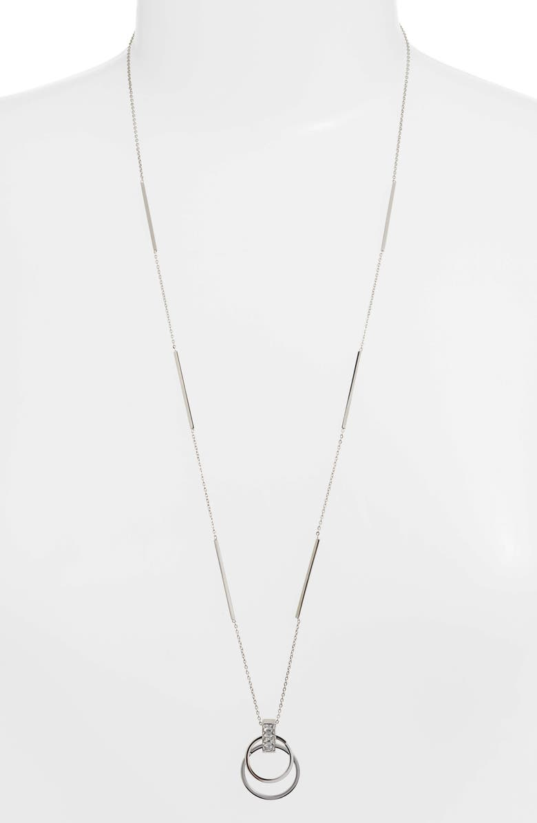 KNOTTY Crystal Open Circle Pendant Necklace, Main, color, RHODIUM